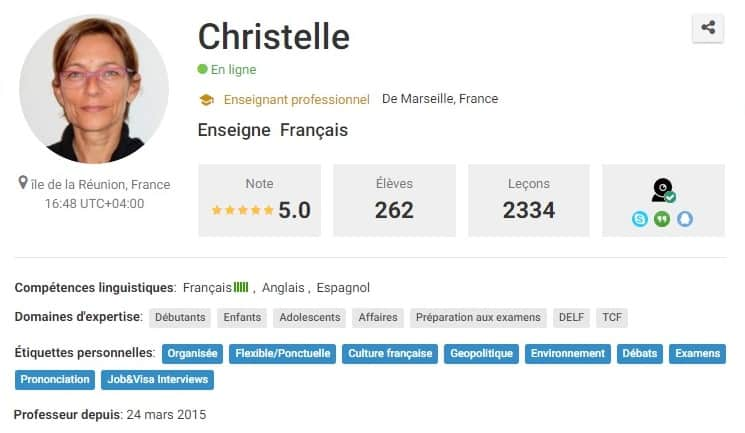 Christelle French Teacher | Italki profile